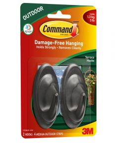 Command Medium Slate Terrace Hooks with Command Adhesive Strips, 2 Count