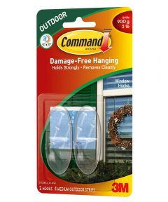 Command Medium Clear Outdoor Window Hooks with Command Adhesive Strips, 2 Count