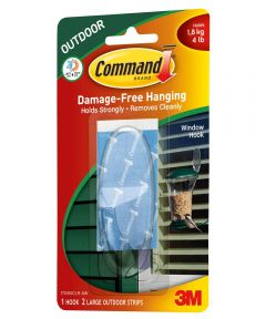 Command Large Clear Outdoor Window Hook with Command Adhesive Strips
