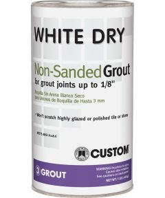 Polyblend Dry Non-Sanded Polymer Modified Tile Grout, 1 lb, Can, White, Solid Powder