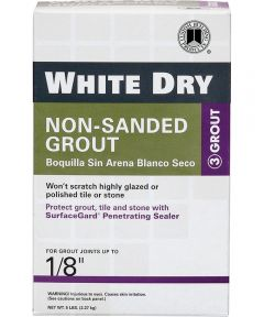White Dry Economical Non-Shrinking Non-Sanded Tile Grout, 5 lb, Box, White, Powder