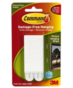 Large White Picture Hanging Strip Pack 4 Count