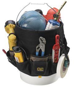 Bucket Tool Organizer, 11-1/2 in. (W) x 12 in. (H), Polyester Fabric, Black/Khaki