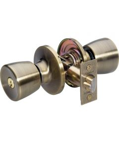 Master Lock Tulip Keyed Entry Door Knob, Antique Brass