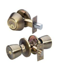 Master Lock Tulip Single Cylinder Deadbolt & Door Knob Set Keyed Alike, Antique Brass