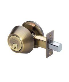 Master Lock Single Cylinder Deadbolt, Antique Brass
