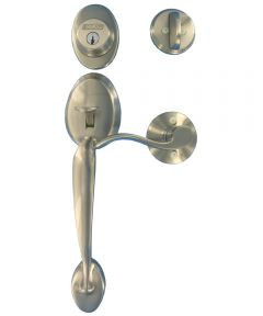 Schlage Plymouth Front Entry Handleset with Accent Door Lever, Satin Nickel