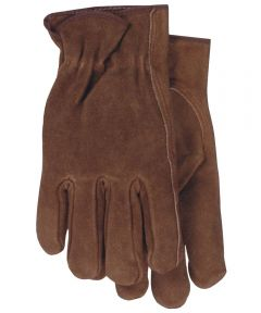 Medium Smoke Brown Unlined Split Leather Gloves
