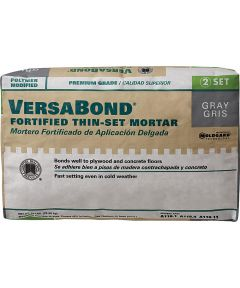 Versabond Fortified Thin-Set Mortar, 50 lb, Bag, Gray, Solid Powder