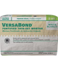 Versabond Fortified Thin-Set Mortar, 50 lb, Bag, White, Solid Powder