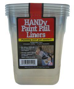 Handy Plastic Paint Pail Liners, 6 Count