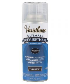 Varathane Ultimate Polyurethane Interior Water Based Spray Paint, 11.25 oz., Crystal Clear Gloss