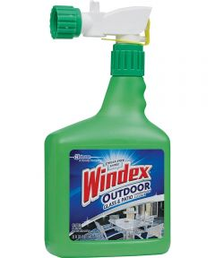 Windex Concentrated Multi-Surface Outdoor Glass Cleaner, 32 oz Bottle, Clear Liquid