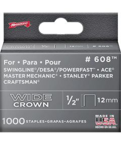 Staples, 600 Series, Wide Crown, 1/2 Inch