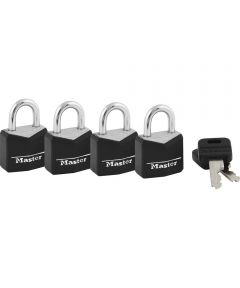 3/4 in. Black Vinyl Cover Brass Padlock 4 Count