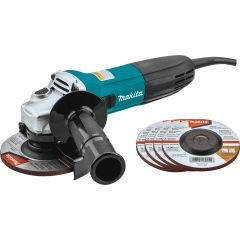 Makita Corded 4‑1/2 in. 6.0 Amp Angle Grinder with 5 Wheels