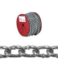 Twist Link Machine Chain, 2/0, 520 lb, Low Carbon Steel (Sold Per Foot)