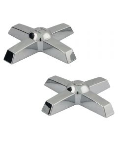 Chrome Cross Lucite Replacement Faucet Handles, Pair, Chrome