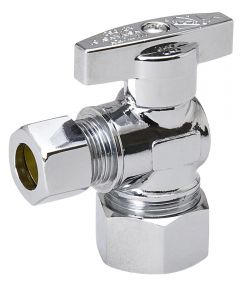 5/8 in. x 1/4 in. Chrome Plated Brass 1/4 Turn Angle Valve