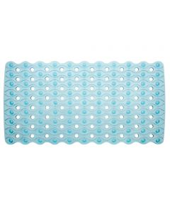 26.5 in. x 13.75 in. Blue Enzo Non-Slip Suction Bath Mat