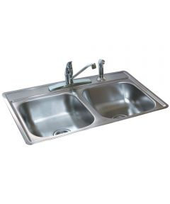 6.5 in. Stainless Steel Satin Finish Double Bowl Topmount Sink