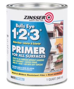 1 Quart Zinsser Bulls Eye 1-2-3 Water-Base White Primer