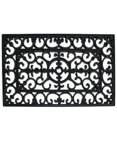 J & M Home Fashions Rubber Wrought Iron Doormat 18x30