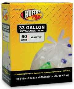 Ruffies 33 Gallon Clear X-Large Trash Bags 60 Count