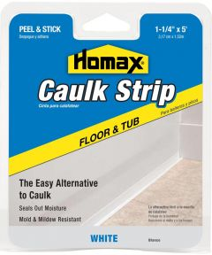 1-1/4 in. White Tub & Floor Caulk Strip