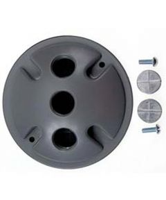 4 in. Gray Triple Outlet Weatherproof Round Lampholder Covers