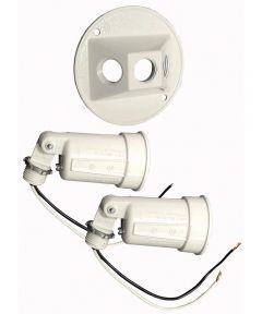 4 in. White Round Dual Lampholders