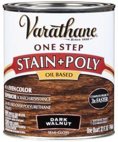 Varathane One Step Stain & Polyurethane, Quart, Dark Walnut