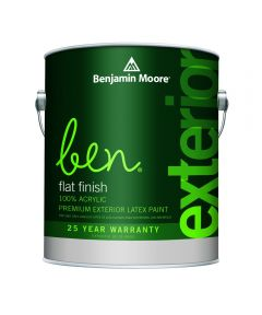 1 Quart Ben Waterborne Exterior Flat White Paint