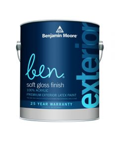 1 Quart Ben Waterborne Exterior Soft Gloss White Paint