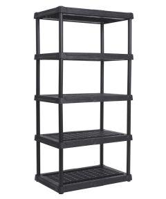 36 in. x 18 in. x 72 in. Black Ventilated Resin 5-Tier Shelf