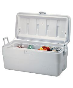 Ice Chest, 18-1/2 in. (L) x 39-1/4 in. (W) x 16-1/2 in. (H), Side Swing Handle, White Cap/Lid