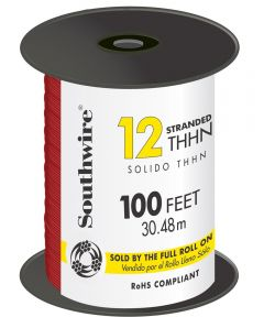 100 ft. Red 12 Gauge 19 Strand Copper Building Wire
