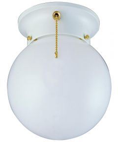 Boston Harbor Dimmable Ceiling Light Globe Fixture with Pull Chain, White