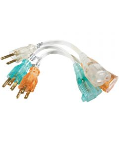 8 in. Assorted Color Power Strip Extension Cord 3 Count