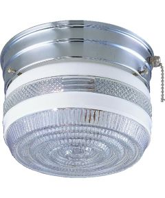 Dimmable Ceiling Light Fixture with Pull Chain, (1) 60/13 W Medium A19/CFL Lamp, Chrome