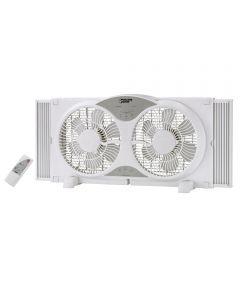Powerzone 9 in. Twin Window Fan with Remote Control, White