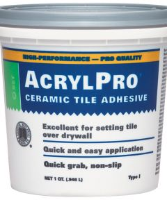 Acrylpro Ceramic Tile Adhesive, 1 qt, Pail, White, Liquid Paste