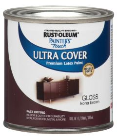 Painter's Touch Ultra Cover Multi-Purpose Gloss Brush-On Paint , Half Pint, Kona Brown