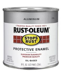 Stops Rust Protective Enamel Oil-Based Paint, Half Pint, Aluminum