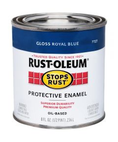 Stops Rust Protective Enamel Oil-Based Paint, Half Pint, Gloss Royal Blue