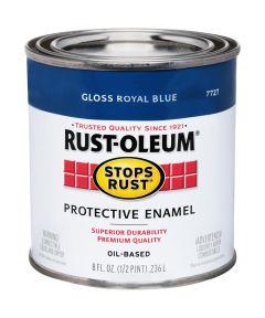 Stops Rust Protective Enamel Oil-Based Paint, Half Pint, Gloss Royal Blue