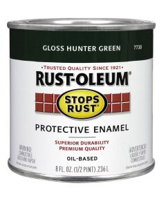 Stops Rust Protective Enamel Oil-Based Paint, Half Pint, Gloss Hunter Green