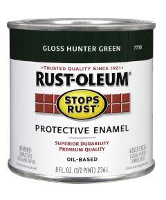 Stops Rust Protective Enamel Oil-Based Paint, Half Pint, Gloss Hunter Green