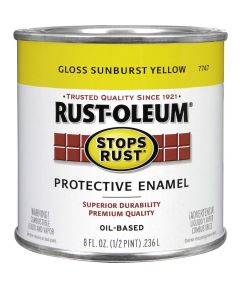 Stops Rust Protective Enamel Oil-Based Paint, Half Pint, Gloss Sunburst Yellow