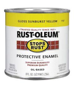 Stops Rust Protective Enamel Oil-Based Paint, Half Pint, Gloss Sunburst Yellow